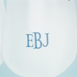 White Pique Pocket Bib with Fancy Block Initials