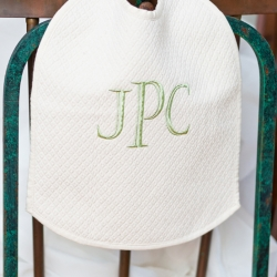 Natural Matelasse Bib personalized with Fancy Block Initials