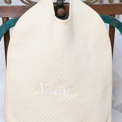 Yellow Matelasse Bib Personalized with Script Name