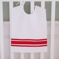 Red Ribbon Large Pique Bib