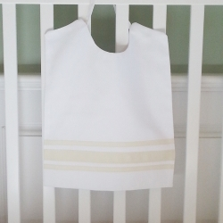 Cream Ribbon Large Pique Bib