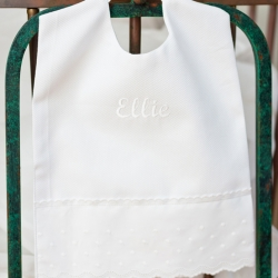 Baby Skies Large Pique Bib Personalized with Script Name