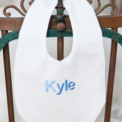 White Pique Bib Personalized with Block Name