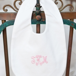 White Pique Bib Personalized with Script Initials