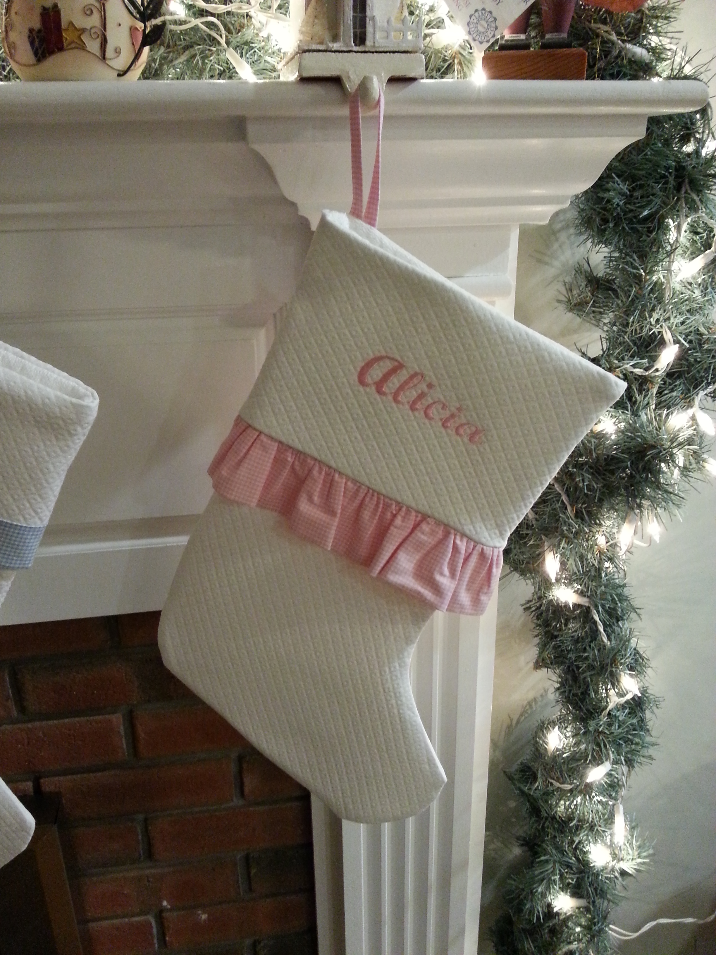White Matele With Pink Gingham Ruffle And Personalization